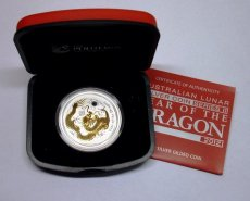 Australie dragon gilded 2012, silver proof bullion