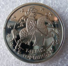 Gibraltar 14 ecu / 10 pounds 1992 zilver QP